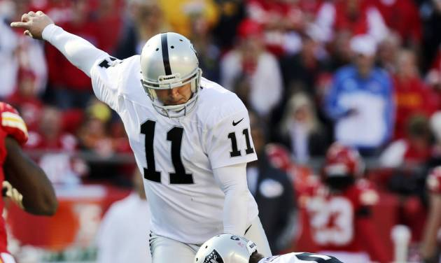 Oakland Raiders kicker Sebastian Janikowski (11) makes a field goal as Shane Lechler (9) holds during the first half of an NFL football game against the Kansas City Chiefs at Arrowhead Stadium in Kansas City, Mo., Sunday, Oct. 28, 2012. (AP Photo/Ed Zurga)