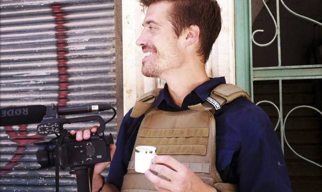 This photo posted on the website freejamesfoley.org shows journalist James Foley in Aleppo, Syria, in July, 2012. The family of an American journalist says he went missing in Syria more than one month ago while covering the civil war there. A statement released online Wednesday by the family of James Foley said he was kidnapped in northwest Syria by unknown gunmen on Thanksgiving day. (AP Photo/Nicole Tung, freejamesfoley.org) NO SALES
