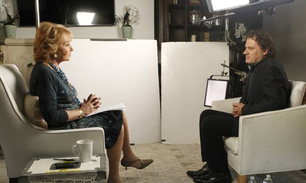 This June 22, 2014 photo provided by ABC shows Barbara Walters, left, during an interview in Los Angeles with Peter Rodger, the father of Elliot Rodger, the 22 year old who killed six people, injured 13, before taking his own life near the campus of the University of California, on May 23, in Santa Barbara, Calif. Less than two months after stepping away from a regular role on television, Walters returned last week to interview the father of a California man who shot and killed six people and injured 13 before killing himself. It was ABC's most-watched prime-time program of the week, and in the Nielsen company's top 10 among all networks. (AP Photo/ABC, Rick Rowell)