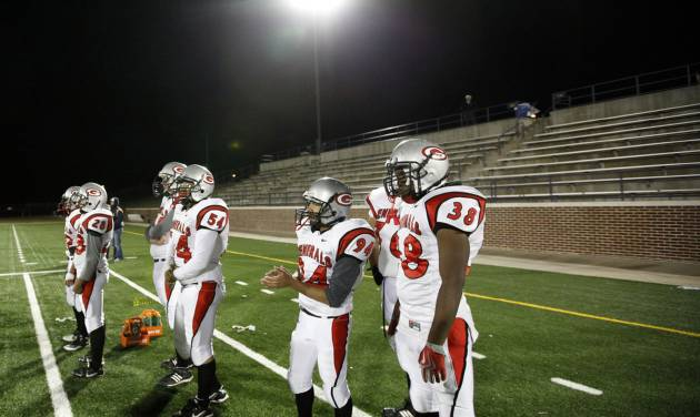 The U.S. Grant defensive team stands on the sidelines during the high school football game between Edmond North and U.S. Grant at Wantland Stadium in Edmond, Okla.,  Thursday, Nov. 3, 2011. Photo by Sarah Phipps, The Oklahoman Archives  ORG XMIT: KOD
