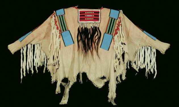 This photo released by the Coeur D'Alene Art Auction shows a war shirt worn by Chief Joseph of Nez Perce tribe that sold for $877,500 at auction.)AP Photo/Coeur D'Alene Art Auction, Michael Scott)