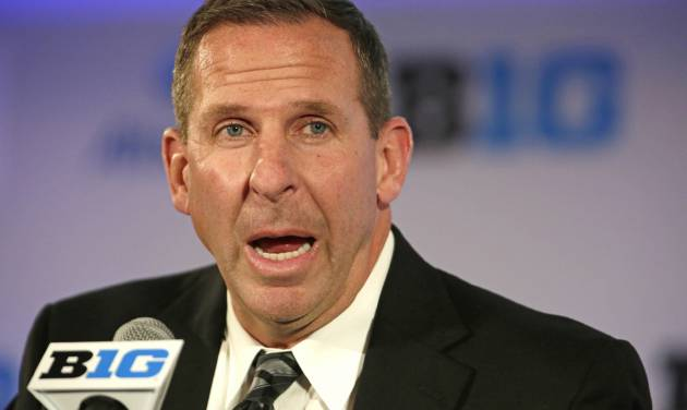 Nebraska head football coach Bo Pelini speaks at a news conference during the NCAA Big Ten football media day meetings on Wednesday, July 24, 2013, in Chicago. (AP Photo/M. Spencer Green)