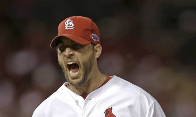 St. Louis Cardinals starting pitcher Adam Wainwright reacts after getting San Francisco Giants' Pablo Sandoval to ground out and end the sixth inning of Game 4 of baseball's National League championship series Thursday, Oct. 18, 2012, in St. Louis. (AP Photo/David J. Phillip)
