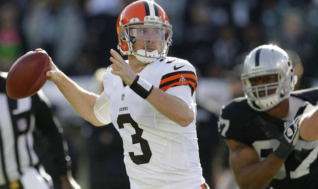 Cleveland Browns quarterback Brandon Weeden (3) passes against the Oakland Raiders during the first quarter of an NFL football game, Sunday, Dec. 2, 2012, in Oakland, Calif. (AP Photo/Tony Avelar)