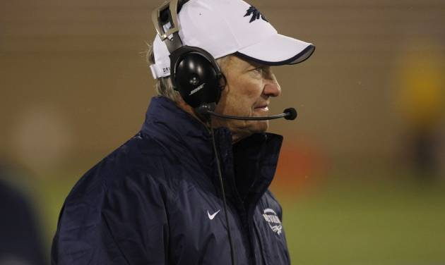 Nevada head coach Chris Ault looks on as time runs out in the fourth quarter of Air Force's 48-31 victory over Nevada in an NCAA college football game in Air Force Academy, Colo., on Friday, Oct. 26, 2012. (AP Photo/David Zalubowski)