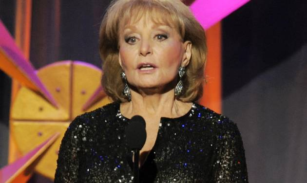 """FILE - This June 23, 2012 file photo shows Barbara Walters presenting an award onstage at the 39th Annual Daytime Emmy Awards in Beverly Hills, Calif. Walters returned to """"The View"""" on Monday, March 4, 2013. Walters was hospitalized on Jan. 19 after fainting and cutting her head at a party in Washington. The 83-year-old said she had chickenpox and a fever at the time but didn't realize it. She got a thunderous welcome from the studio audience and co-panelists Sherri Shepherd, Elisabeth Hasselbeck and Joy Behar, as well as well-wishers Regis Philbin and New York City Mayor Michael Bloomberg, who stopped by.  (Photo by Chris Pizzello/Invision/AP, file)"""