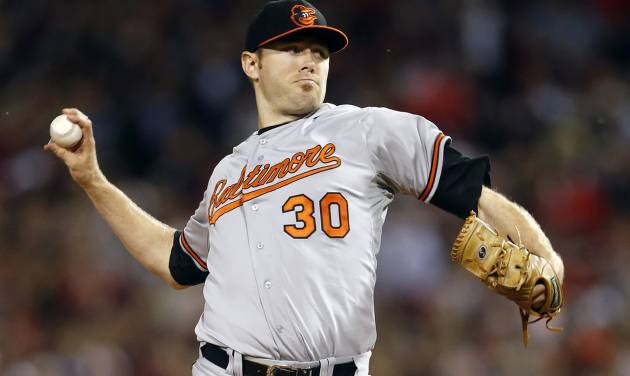 FILE - In this Sept. 19, 2013 file photo, Baltimore Orioles' Chris Tillman pitches in the first inning of a baseball game against the Boston Red Sox in Boston. Tillman finally put it all together last season, doubling his win total during a 16-7 year that probably earned him his first opening day start.  (AP Photo/Michael Dwyer, File)
