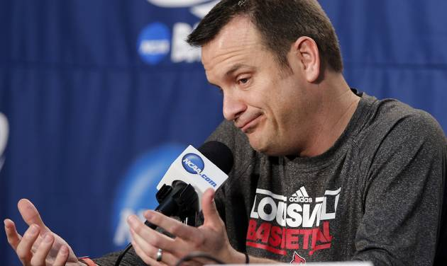 Louisville coach Jeff Walz speaks during media day for the NCAA Women's Basketball regional final game at the Chesapeake Arena on Monday, April 1, 2013, in Oklahoma City, Okla.  Photo by Chris Landsberger, The Oklahoman