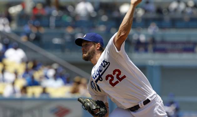 Los Angeles Dodgers starting pitcher Clayton Kershaw throws against the St. Louis Cardinals in the first inning of a baseball game on Sunday, June 29, 2014, in Los Angeles. (AP Photo/Alex Gallardo)