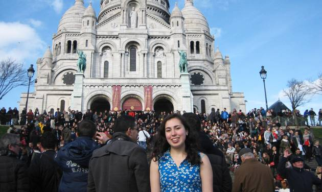 This image provided by Jane Tabachnik shows her daughter Mel Bandler on the steps of Sacre Couer, the famous church in Paris. Bandler studied in Paris as part of her work for a degree from Rutgers University, and stayed in touch with her mom using Skype and GoogleChat. Free and low-cost apps and websites have made it easy for students to remain in contact with families abroad, unlike a generation ago, when Tabachnik studied in Paris and relied on airmailed letters as the main way to stay in touch with her parents. (AP Photo/Jane Tabachnik)