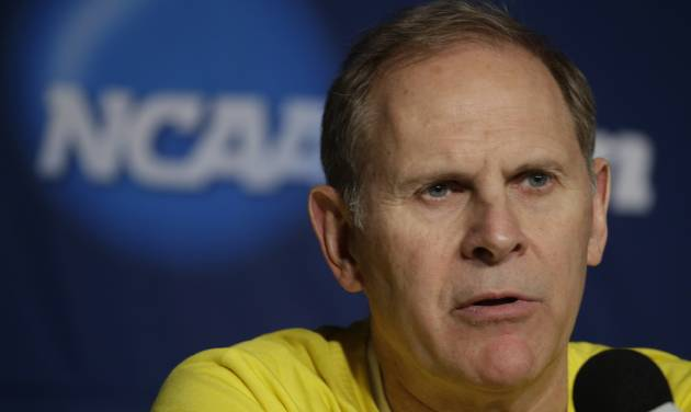 Michigan head coach John Beilein speaks during a news conference for the third-round game of the NCAA college basketball tournament Friday, March 21, 2014, in Milwaukee. Michigan plays Texas on Saturday. (AP Photo/Morry Gash)