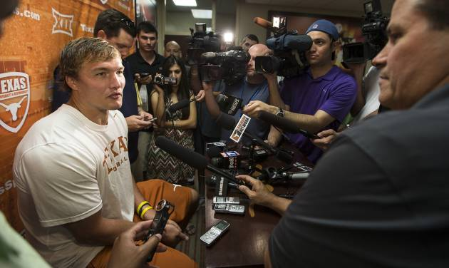 Texas NCAA college football quarterback David Ash speaks to the media during a press conference after practice on Monday, Aug. 4, 2014, in Austin, Texas. (AP Photo/Austin American-Statesman, Ricardo B. Brazziell)  AUSTIN CHRONICLE OUT, COMMUNITY IMPACT OUT, INTERNET AND TV MUST CREDIT PHOTOGRAPHER AND STATESMAN.COM, MAGS OUT