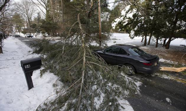 An abandoned car and a tree limb that took out a utility line block a road in the aftermath of a winter storm Thursday, Feb. 6, 2014, in Media, Pa. Thousands of utility workers are trying to restore power knocked out by an ice storm that left more than 849,000 Pennsylvania households and businesses without electricity, but officials say toppling trees are still causing fresh outages.  (AP Photo/Matt Rourke)