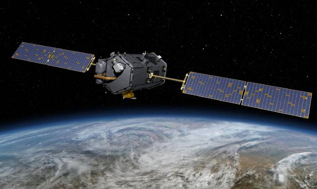 This May 15, 2014, artist concept rendering provided by NASA shows their Orbiting Carbon Observatory (OCO)-2. The OCO-2, managed by NASA's Jet Propulsion Laboratory in Pasadena, Calif., will launch from Vandenberg Air Force Base, Calif., on a Delta II rocket on July 1, 2014. OCO-2 is managed by JPL for NASA's Science Mission Directorate, Washington. Orbital Sciences Corporation, Dulles, Va., built the spacecraft and provides mission operations under JPL's leadership. The California Institute of Technology in Pasadena manages JPL for NASA. (AP Photo/NASA/JPL-Caltech)