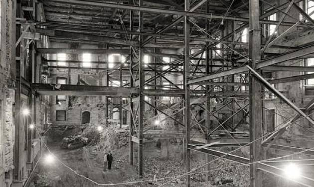 The inside of the White House, after being gutted in 1950. (National Archives)