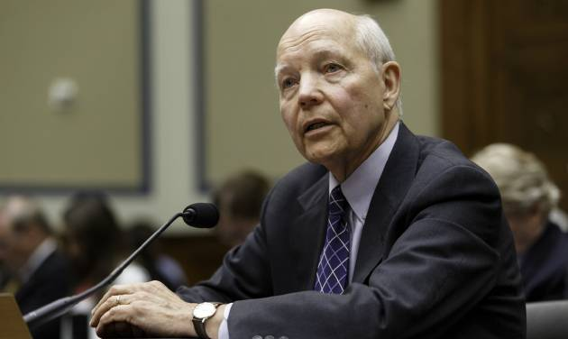 Internal Revenue Service Commissioner John Koskinen testifies under subpoena before the House Oversight Committee as lawmakers continue their probe of whether tea party groups were improperly targeted for increased scrutiny by the IRS, on Capitol Hill in Washington, Monday, June 23, 2014. The IRS asserts it can't produce emails from seven officials connected to the tea party investigation because of computer crashes, including the emails from Lois Lerner, the former IRS official at the center of the investigation.   (AP Photo/J. Scott Applewhite)