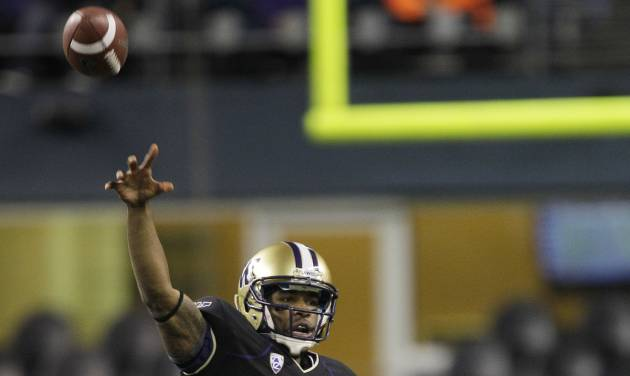 Washington quarterback Keith Price passes in the second half of an NCAA college football game against Oregon State, Saturday, Oct. 27, 2012, in Seattle. Washington beat Oregon State 20-17. (AP Photo/Ted S. Warren)