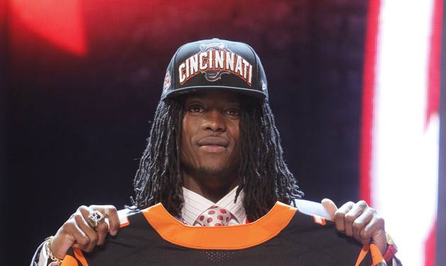 Alabama cornerback Dre Kirkpatrick poses for photographs after being selected 17th overall by the Cincinnati Bengals in the first round of the NFL football draft at Radio City Music Hall, Thursday, April 26, 2012, in New York. (AP Photo/Jason DeCrow)