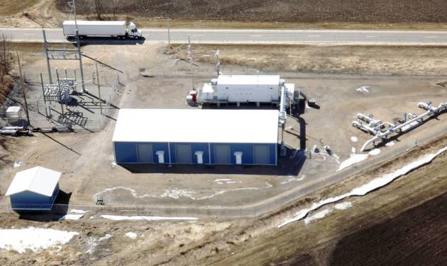In this photo provided by Minnesota Pipe Line Company is a pumping station near Albany, Minnesota. The company plans to ask Minnesota regulators for approval to nearly double the capacity of its Line 4 pipeline by adding new pumping stations and upgrading existing stations on the line, which carries oil from Canada and North Dakota to the two refineries in the Twin Cities area that produce most of Minnesota's and much of Wisconsin's transportation fuels. (AP Photo/Minnesota Pipe Line Company)