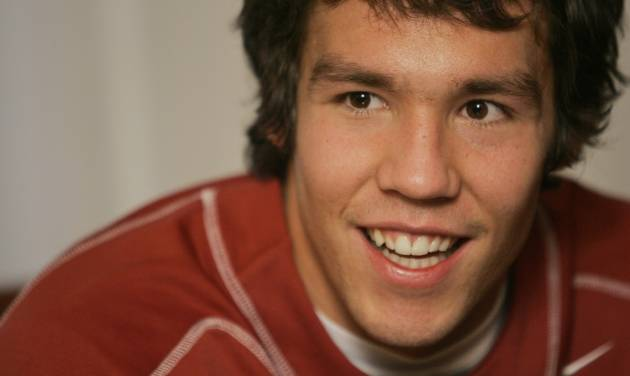 Heisman Trophy finalist Oklahoma's  Sam  Bradford speaks to reporters during a news conference, Friday, Dec. 12, 2008 in New York. (AP Photo/Mary Altaffer)