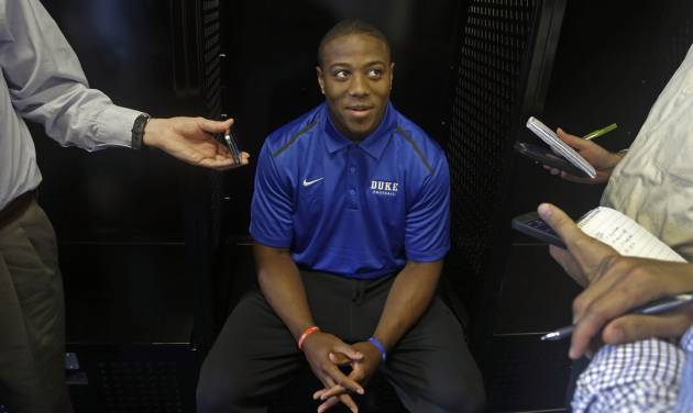 Duke running back Josh Snead speaks with reporters during an NCAA college football media day in Durham, N.C., Monday, Aug. 4, 2014. (AP Photo/Gerry Broome)