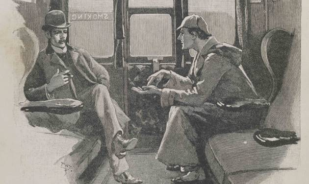 """This image made available by the Museum of London shows the illustration The Adventure of the Silver Blaze - """"Holmes gave me a sketch of the events"""", from the Strand magazine Vol iv.1892, page 646. The Museum of London on Tuesday May 20, 2014 announced an exhibition devoted entirely to the detective, from Arthur Conan Doyle's hand-written manuscripts to the coat worn by Benedict Cumberbatch in the BBC series """"Sherlock."""" It is the first time the museum devoted to London's history has held a show about a fictional character. (AP Photo/Museum of London)"""