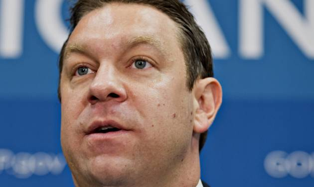 """FILE - In this July 9, 2013 file photo, Rep. Henry """"Trey"""" Radel, R-Fla. speaks in Washington. A spokesman for Radel says the congressman will resign after pleading guilty to cocaine-possession charges last year. (AP Photo/J. Scott Applewhite, File)"""