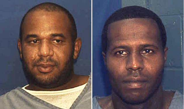 This undated combo of photos provided by the Florida Department. of Corrections shows Joseph Jenkins, left and Charles Walker. Walker and Joseph Jenkins were mistakenly released from prison in Franklin County, Fla.,  in late September and early October.  According to authorities, the the two convicted murderers were released with forged documents. A manhunt is under way for the two men. (AP Photo/Florida Department. of Corrections)