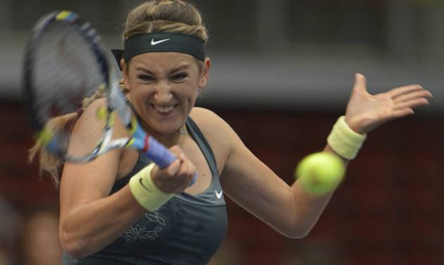 Victoria Azarenka of Belarus returns a shot to Romania's Irina Camelia Begu during their semi final match at the Generali Ladies tennis tournament in Linz, Austria, on Saturday, Oct. 13, 2012. Azarenka won 6-2, 6-1. (AP Photo/Kerstin Joensson)