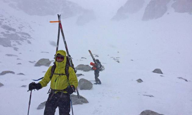 In this Friday, April 29, 2016 photo, backcountry skiers descend from Sequoia National Park in a snowstorm near Independence, Calif. Late season storms have brought snow to the Sierra Nevada for much of the past week. (AP Photo/Brian Melley)