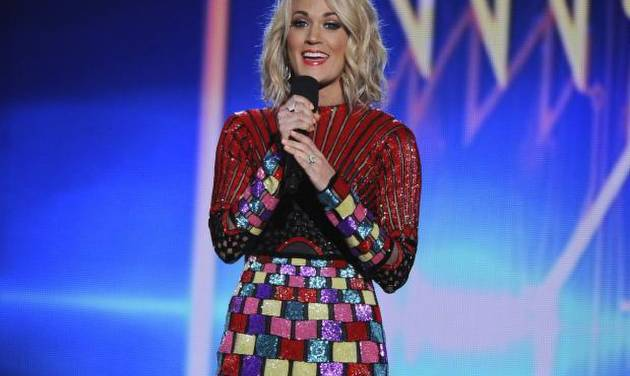 Carrie Underwood speaks during the American Country Countdown Awards at the Forum on Sunday, May...