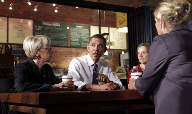 FILE-In this Tuesday, Aug. 17, 2010 file photo, President Barack Obama speaks during a roundtable discussion with small business owners at Grand Central Bakery in Seattle. In an election year when the economy and small business have combined to form a huge campaign issue, advocacy groups like the Small Business & Entrepreneurship Council step up their own campaigns on behalf of the company owners they represent. (AP Photo/Carolyn Kaster, File)