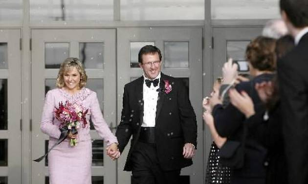 U.S. Rep.  Mary  Fallin and Wade Christensen leave Crossings Community Church following their wedding, Saturday, Nov. 21, 2009, in Oklahoma City. Photo by Sarah Phipps, The Oklahoman