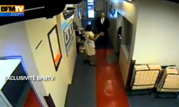 In this image made from surveillance video obtained by France's BFM television and publicly aired for the first time Thursday, Dec. 8, 2011, hotel maid Nafissatou Diallo speaks to another hotel employee in a corridor reserved for Sofitel staff in New York on May 14, 2011. BFM said this was filmed about 40 minutes after an alleged attack on her by Dominique Strauss-Kahn. The video is the basis of recent news reports suggesting Strauss-Kahn might have been the target of a political plot. (AP Photo)