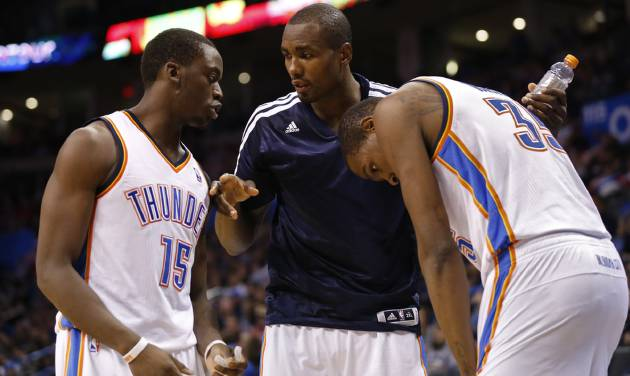 How will the Thunder fare without rim protector Serge Ibaka in the Western Conference Finals? Photo by Steve Sisney, The Oklahoman