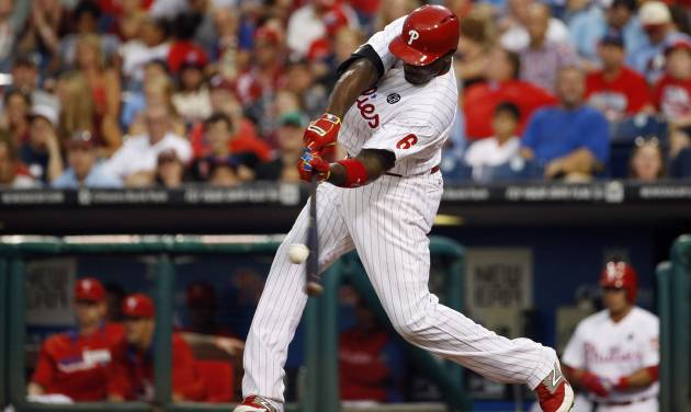 Philadelphia Phillies' Ryan Howard hits a home run off Houston Astros starting pitcher Dallas Keuchel during the second inning of an interleague baseball game, Tuesday, Aug. 5, 2014, in Philadelphia. (AP Photo/Matt Slocum)