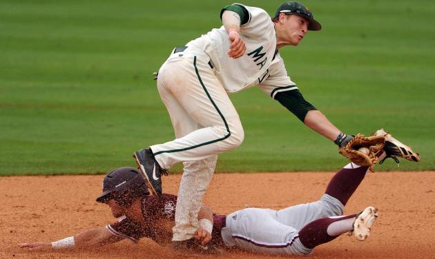 Texas A&M's Nick Banks steals second base as George Mason's Chris Cook defends during the third inning of an NCAA college baseball tournament regional game, Saturday, May 31, 2014, at Reckling Park in Houston. (AP Photo/Houston Chronicle, Eric Christian Smith) MANDATORY CREDIT