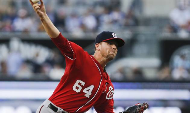 Washington Nationals starter Blake Treinen works against the San Diego Padres during the first inning of a baseball, game Saturday, June 7, 2014, in San Diego. (AP Photo/Lenny Ignelzi)