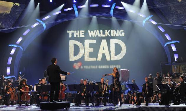 An orchestra performs the musical themes for game of the year nominees on stage at Spike's 10th Annual Video Game Awards at Sony Studios on Friday, Dec. 7, 2012, in Culver City, Calif. (Photo by Chris Pizzello/Invision/AP)