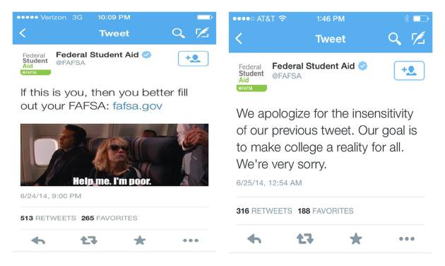 "This two-picture combo, framegrabs from an iPhone show two tweets from the Education Department. The Education Department on Wednesday apologized for a tweet that depicted a scene from the movie ""Bridesmaids"" with the words ""Help me. I'm poor"" imprinted on it as part of an effort to get students to apply for federal aid, left.  ""If this is you, then you better fill out your FAFSA: fafsa.gov,"" the tweet reads. The quote in the movie is said during a comedic scene on an airplane by the character played by actress Kristen Wiig. The apology tweet that was moved later is at right. (AP Photo/Education Department)"