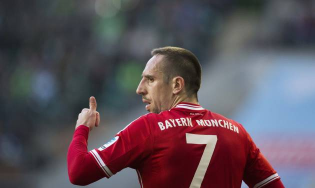 Bayern's Franck Ribery of France gestures during the German Bundesliga soccer match between VfL Wolfsburg and Bayern Munich in Wolfsburg, Germany, Saturday, March 8, 2014. (AP Photo/Gero Breloer)
