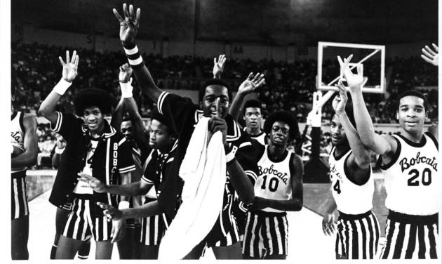 Star Spencer players celebrate winning the Class 3A title on March 11, 1979. It was the team's fourth straight championship.  PHOTO BY STEVE GOOCH, THE OKLAHOMAN ARCHIVE