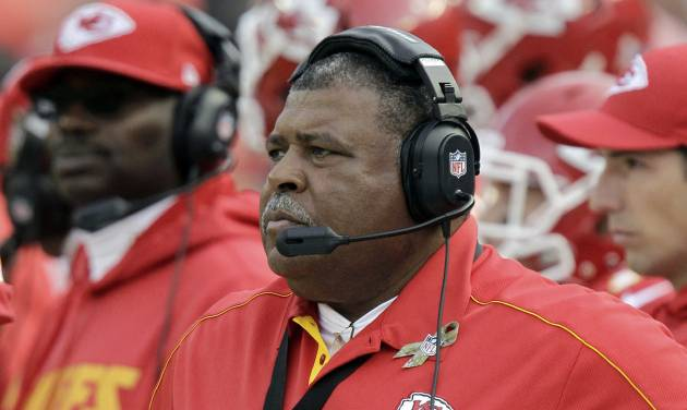 ADVANCE FOR EDTIONS FOR NOV. 22-25 - FILE - In this Nov. 18, 2012, file photo, Kansas City Chiefs coach Romeo Crennel watches during the second half of an NFL football game against the Cincinnati Bengals in Kansas City, Mo. In a galaxy far, far away from the chase for the Super Bowl live such creatures as Jaguars and Panthers, Eagles and Raiders, Chiefs and Browns. The worst of the worst in the NFL. (AP Photo/Chris Ochsner, File)