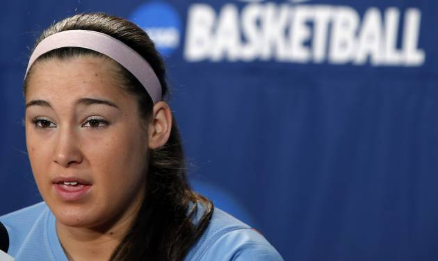Tennessee's Taber Spani speaks during media day for the NCAA Women's Basketball regional final game at the Chesapeake Arena on Monday, April 1, 2013, in Oklahoma City, Okla.  Photo by Chris Landsberger, The Oklahoman