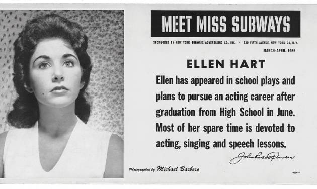"""This image provided by the MTA courtesy of the New York Transit Museum shows Ellen Hart, who appeared on placards in the New York City subways during March and April of 1959 in the """"Meet Miss Subways"""" campaign that ran for 35 years as eye candy to bring attention to other advertisements in New York's transit system. """"Meet Miss Subways: New York's Beauty Queens 1941-76,"""" is now an exhibition at the New York Transit Museum running Oct. 23-March 25, and a companion book of the same name with current-day photos of the women. (AP Photo/ MTA courtesy of the New York Transit Museum)"""