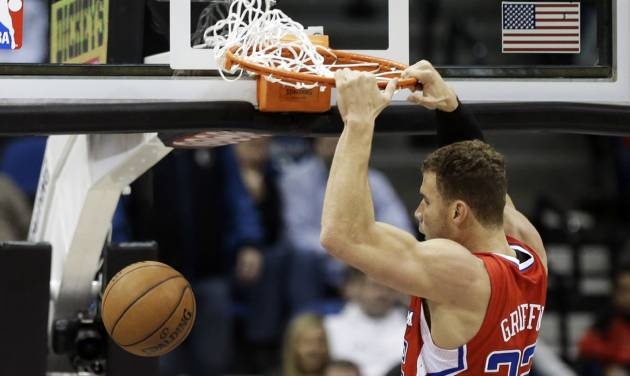 Los Angeles Clippers' Blake Griffin dunks in the first half of an NBA basketball game against the Minnesota Timberwolves Wednesday, Jan. 30, 2013 in Minneapolis. (AP Photo/Jim Mone)