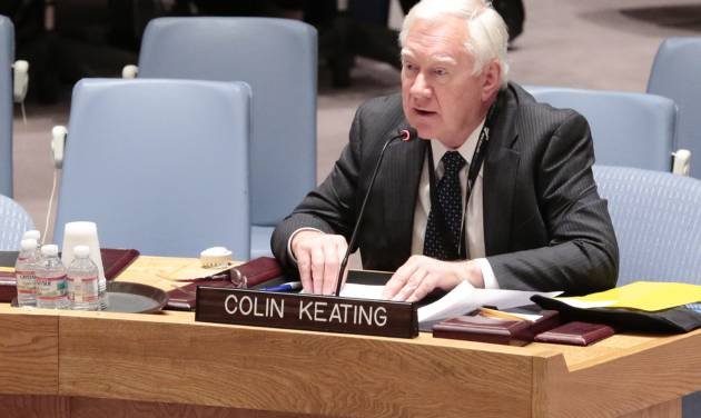 In this photo provided by the United Nations, former New Zealand ambassador Colin Keating addresses an open session of the United Nations Security Council at United Nations Headquarters, Wednesday, April 16, 2014. Keating, who was president of the Security Council in April 1994, apologized Wednesday for the council's refusal to recognize that genocide was taking place in Rwanda and for doing nothing to halt the slaughter of more than one million people. (AP Photo/United Nations, Evan Schneider)