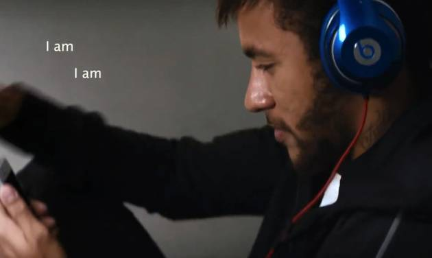 "This image taken from video provided by Beats Electronics shows Brazilian soccer star Neymar Jr. in Beats by Dre's ""The Game Before The Game"" ad. The splashy new 5-minute video shows soccer stars like Neymar Jr. and many others preparing for game time by listening to ""Jungle"" by Jamie N Commons & The X Ambassadors. (AP Photo/Beats Electronics)"