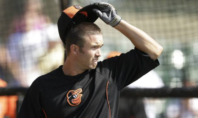 Baltimore Orioles' J.J. Hardy is seen during batting practice before a spring exhibition baseball game against the New York Yankees in Sarasota, Fla., Saturday, March 15, 2014. (AP Photo/Carlos Osorio)
