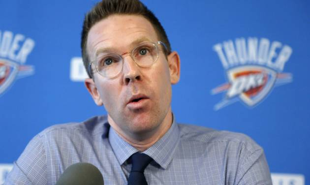Sam Presti, general manager of the NBA's Oklahoma City Thunder basketball team, answers questions during a news conference in Oklahoma City, Wednesday, Sept. 25, 2013. (AP Photo/Sue Ogrocki)